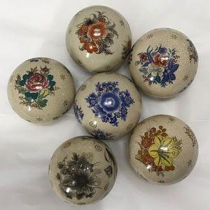 Set of 6 Decorative Porcelain Balls Deco Spheres